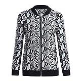 iHAZA Snake Print Taschenmantel für Frauen Mode Lose Zip Lange Ärmel Jacke