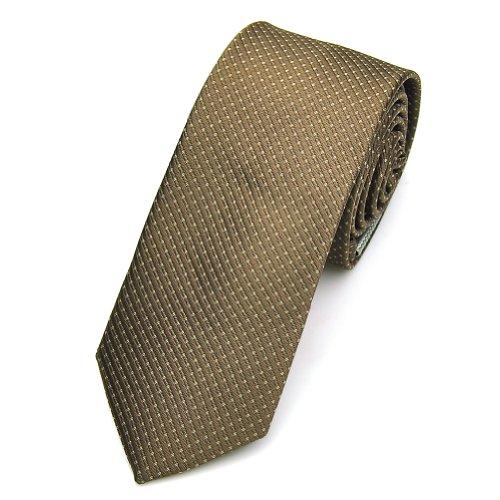 Nœud Papillon PENSEE DE 100% polyester soie Jacquard Tissé Jaune et marron et beige plaid à rayures pour homme Skinny ties-various couleurs Marron - marron