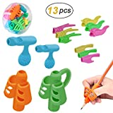 Pencil Grips Set Crayon Poignées Silicone Grip Ergonomique Aide Correction Posture Écriture Griffe pour Enfants Étudiant Adulte Personnes âgées Besoins Spéciaux Righties ou Lefties 13PCS