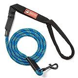 Rockpet Laisse Pour Chien Anti-Mastication, 1.8m & 6 ft, Parfait pour les petit, moyen et grand chiens, manche ergonomique antidérapante avec cordes d'alpinisme (Bleu)