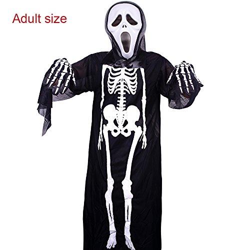 ankuka Halloween Scary Skelett Kostüm mit Scream Ghost Maske und Handschuhe, Party Herren Damen Unisex-Erwachsene Kinder Größe Fancy Kleid (Scary Skelett Kostüme)