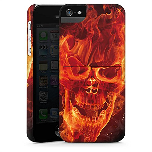 Apple iPhone 6 Hülle Case Handyhülle Totenkopf Feuer Rocker Premium Case StandUp