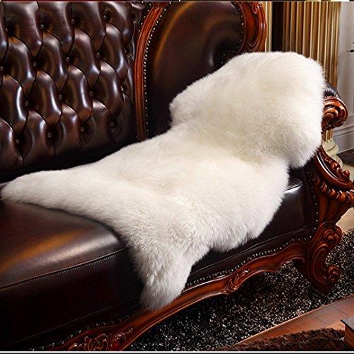 Faux Tapetes de piel de oveja, HLZDH Suave suave mullido alfombra grande Alfombra no resbalar alfombras para la silla Cama Sofa piso con lana extra larga (95 X 60 CM, Blanco)