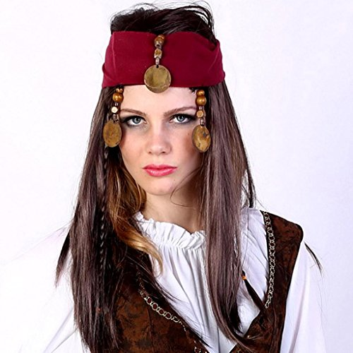 DZW Kopfschmuck Perücke, schwarz braun Bart gefälschte indische Bettler Perücke Gilt für dress up prom , female pirate (Sexy Perücke Pirate)