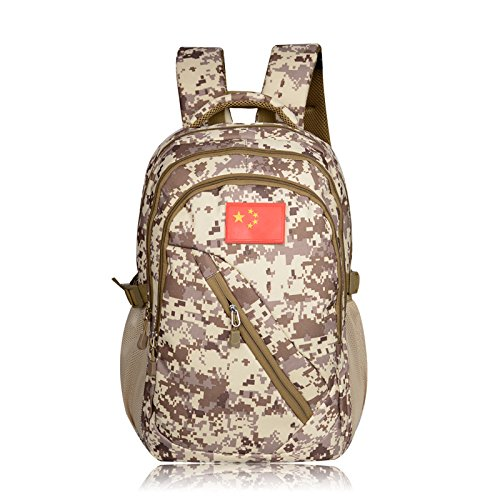 Il camuffamento sport outdoor zaino grande capacità doppia impermeabile borsa a tracolla fan Pack studente borsa per computer 45*32*20cm, desert camouflage Desert Camouflage