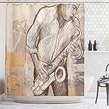 ABAKUHAUS La Musique Rideau de Douche, Musicien de Jazz Jouant du Saxophone en Solo dans la Rue Surun Fond Grunge, Soupe, Eau, bactéries et Hydrofuge, 175 x 200 cm, Marron