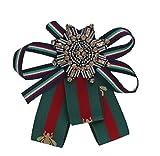 Blogger Fashion Schleifenbrosche Damen Brosche mit Strass versch.Modelle SB52 (M26 / Orden grün rot / 11x11 cm)