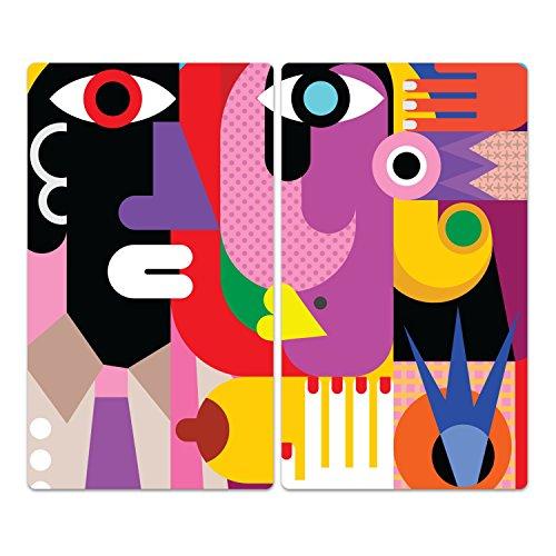 DekoGlas Herdabdeckplatten Set inkl. Noppen aus Glas 'Kubistisches Porträt', Herd Ceranfeld Abdeckung, 2-teilig universal 2X 52x30 cm -