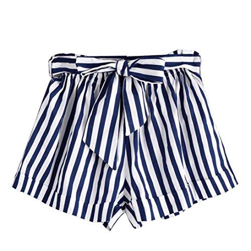 Shorts Damen Sommer Locker LUCKYCAT Kurze Shorts Damen Sommer Frauen gestreifte Shorts Hose Sommerhosen Pants Hosen (Blau, Small)