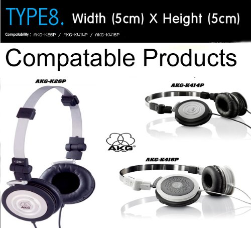 Kopfhörer Ohrkissen, Ohrpolster Ersatz für Kopfhörer, Kompatibel mit AKG-K26P, AKG-K414P, AKG-K416P (Packaged 1 Paar (2 Stück)) Type 8 - 4