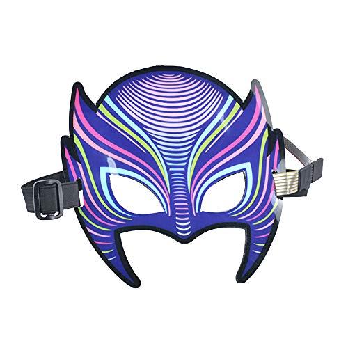 SUREH Soundeffekte, weiche LED-Maske für Halloween-Kostüme, LED-Musiksteuerung, Party-Maske mit Sound aktiv für Tanzen, Reiten, Skaten, Party und jedes Festival C- Cat