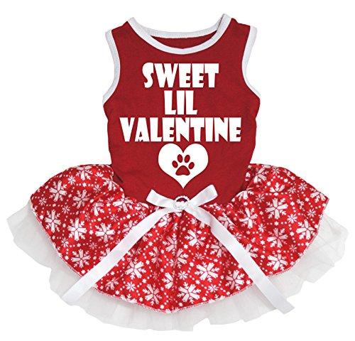 Petitebelle Hundekleid Sweet Lil Valentine rot Baumwolle Hemd Schneeflocke Tutu (Tutu Schneeflocke)