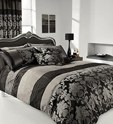 Apachi Double Size Duvet Cover Bedding Set - Silver /black - low-cost UK light shop.
