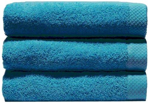 Home Basic - Lot de 3 serviettes eponge, 33x50 cm serviette invité, 50x100 cm, drap de bain 70x140 cm, couleur turquoise