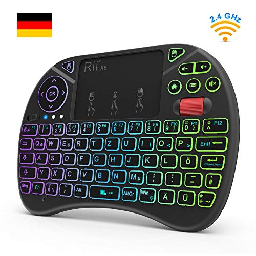 Rii X8 (Neue Version 2018) Mini Tastatur wireless, 2,4 GHz Kabellos Tastatur mit 8 Farbige Hintergrundbeleuchtung, Touchpad und Scrollrad (Deutsches Layout, Schwarz)
