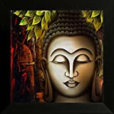SAF Buddha Religious UV Textured Framed Painting (Synthetic, 14 inch x 14 inch)