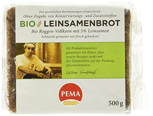 PEMA Bio Leinsamenbrot, Roggenvollkorn sowie Leinsamen aus ökologischem Landbau - ein Brot mit aromatisch kräftigem Geschmack, 6er Pack (6 x 500 g)