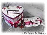 Ensemble livre d'or, urne, coussin mariage fuchsia et marron, décoration Album photos Personnalisé, thème Gourmandises, urne mariage fuchsia