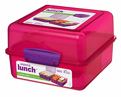 Sistema Lunchbox, quadratisch, Plastik, Pink/Violet, 14.5 x 15 x 9.5 cm