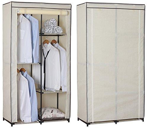 WOLTU SS5025cm Kleiderschrank Stoff , Garderobenschrank Faltschrank , Stoffkleiderschrank mit Kleiderstange , Crème Weiss , 88,3x46x169 cm