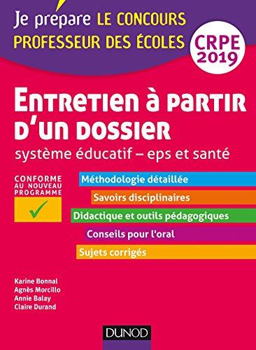 Entretien à partir d'un dossier - Système éducatif - EPS et Santé - CRPE 2019 par Karine Bonnal