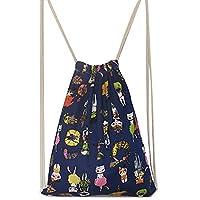 AiSi Harajuku New Fashion Style Backpack Canvas Shoulder Bag Retro Leisure Drawstring Backpack Travel Drawstring Bag Sport Bag, Gym Bag, Shoe Bag 32*44CM