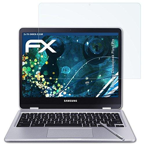 atFolix Schutzfolie kompatibel mit Samsung Chromebook Plus/Pro Panzerfolie, ultraklare & stoßdämpfende FX Folie (2X)