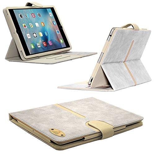 Apple iPad Air 2 Gorilla Tech® Ipad-Hülle aus Veloursleder mit trennbarer Standfunktion und Magnet-Schließfunktion und Kartenfächern inkl. Displayschutzfolie und Mikrofaser-Reinigungstuch Model number A1566 / A1567 Apple iPad 6th Generation -Farbe: Beige