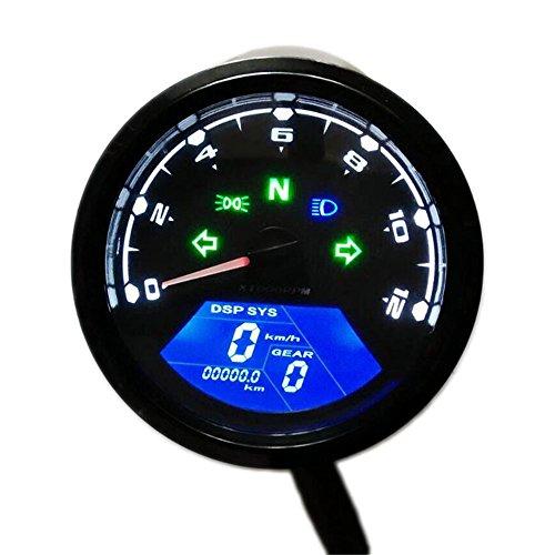 Universal-Motorrad wasserdicht Tacho, Multifunktions-Digital-Instrument Kilometerzähler zwei Geschwindigkeit Meter mit LED-Anzeige