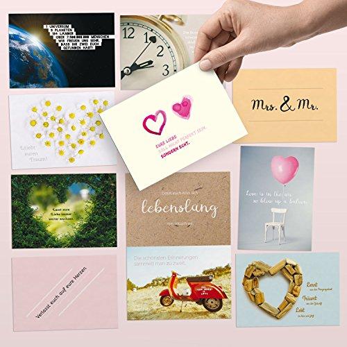 52 Postkarten für die Hochzeit - liebevoll gestaltetes Hochzeitsgeschenk: Jede Woche eine DIN A6 Karte als Gästebuch-Alternative - Hochzeitsspiel & Geschenk-Idee zum Thema Liebe, Partnerschaft & Ehe