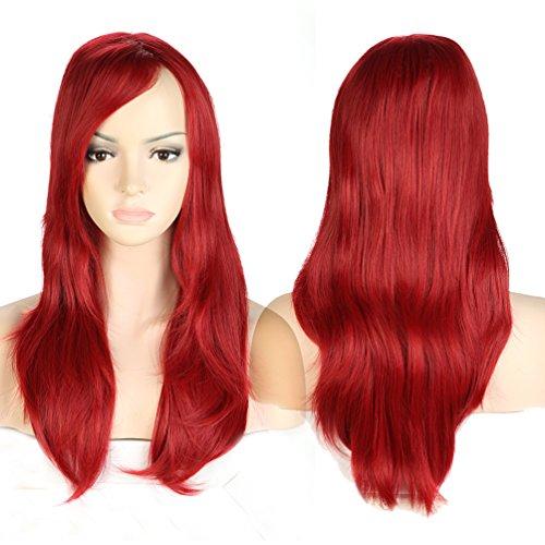 S-noilite® Nouvelle Perruque Femme 56cm Longue Pour La vie quotidienne Cosplay Déguisement Costume - Rouge foncé