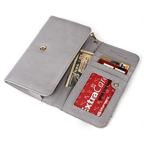 Kroo Pochette en cuir véritable pour téléphone portable pour Gigabyte GSmart Guru (Blanc Edition) noir - noir Gris - Gris