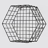 Wand-zeitschriftenhalter, Metall prospekthalter Sechseck-bücherregal Magazin-regale Geometrie Einfache Wall hangings Perforiert Büro und zu hause-Schwarz B 39.5x18x35.8cm(16x7x14inch)