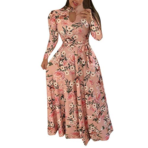 Kleid Lang Damen Maxikleider,Frauen Langarm Bandage Print O Neck Button Down Casual Langes Kleid Evansamp(Rosa,XXXXXL) -