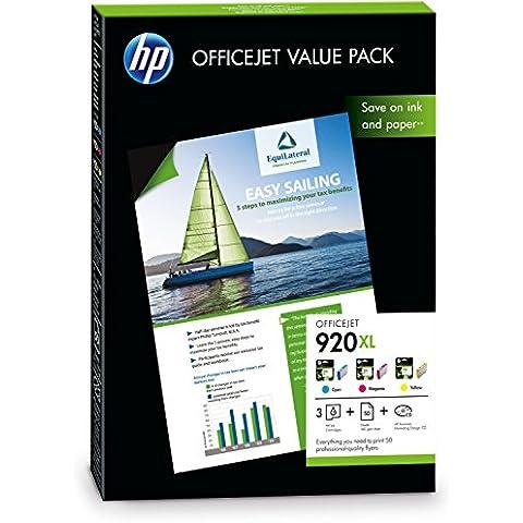 HP CH081AE - Pack de cartuchos de tinta y papel (920XL Officejet, 50 hojas, A4)