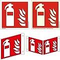 Nur 1 Versand Feuerlöscher Symbol Schild von 50 x 50 bis 300 x 300 mm ASR A1.3, ISO 7010 Brandschutzzeichen als Folie PVC Aluminium Winkel Fahnen nachleuchtend selbstklebend F001 Symbolschild