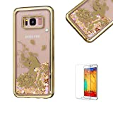 For Samsung Galaxy S8 Plus Case Cover, Funyye New Creative Floating Water Liquid Small Love Hearts Design Luxury Sparkly Lovely (Gold) Electroplate Plating Frame Crystal Design for Samsung Galaxy S8 Plus- Flower Girl