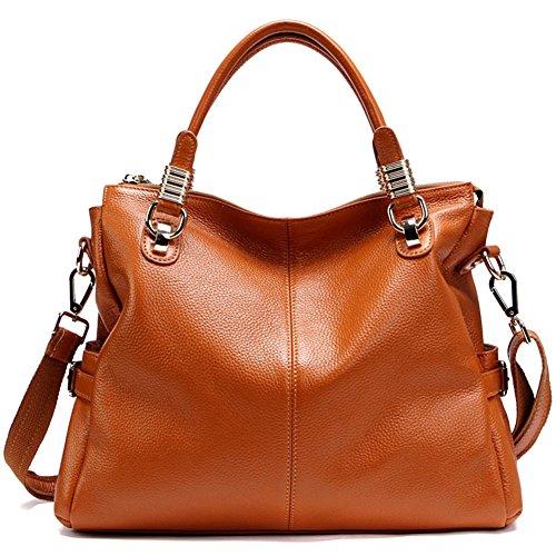 Aidoer donna classica in pelle borsa messenger bag, BLACK (marrone) - BB-179 BROWN