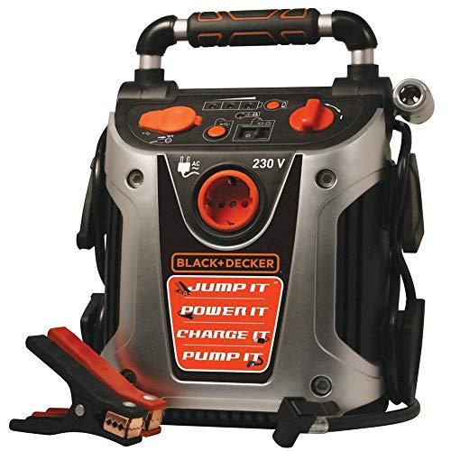 Black & Decker Jump Starter 500 Amp Caricabatterie Stazione di Energia con Compressore Aria Luce di Emergenza e Attacco USB 12V Avviatore di Emergenza Batteria Portatile con Morsett