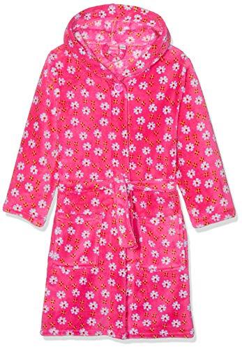 Playshoes Kinder Fleece-Bademantel mit Kapuze, flauschiger Morgenmantel für Mädchen, mit Blumen-Muster