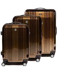 03ccae69b FERGÉ luggage set 3 piece hard shell trolley TSA-lock CANNES suitcase set 4  twin…