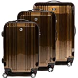 FERGÉ Luggage Set 3 Piece Hard Shell Travel Trolley Cannes Suitcase Set 4 Twin Spinner Wheels Brown