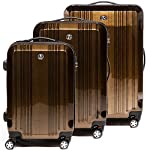 FERGÉ luggage set 3 piece hard shell trolley CANNES suitcase set 4 twin spinner wheels brown - luggage-sets