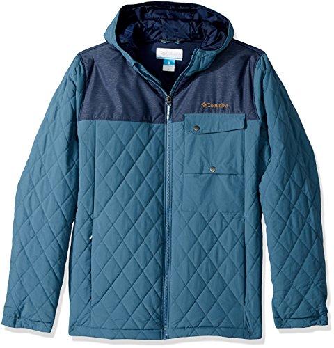 Columbia Big Boys' Lookout Cabin Jacket, Blue Heron, Coll Navy Heather, Medium -