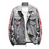 Geilisungren Herren Jeansjacke Knöpfe Jeans Jacket Sweatshirt Sweatjacke Männer Vintage Washed Destroyed Patchwork Denim Jacke Kapuzenjacke Herbst Mode Bomberjacke Mantel Outwear