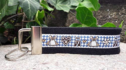 Schlüsselanhänger Taschenanhänger Wollfilz Dirndl Lederhose Trachten bayrisch blau Geschenk!