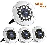 Luci Solari Giardino 12 LED Lampade Luci Led Solari da Esterno, LED Luce Sepolta Solare IP65 Impermeabile Faretti per Esterno,Scala,Paesaggio,Strade,4 Pezzi (Bianco)
