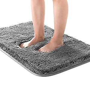 Kuyang Badematte Badteppich Badvorleger rutschfest Waschbar Badezimmerteppich Antirutsch Badteppiche Wasserabsorbierend Badematten Weiche Mikrofaser Bad Teppich 50×80 cm für Badezimmer