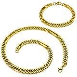 SoulCats Königskette Armband Set o. einzeln aus Edelstahl Breite: 8 mm; Farbe: Gold; Auswahl: Kette 60 cm + Armband