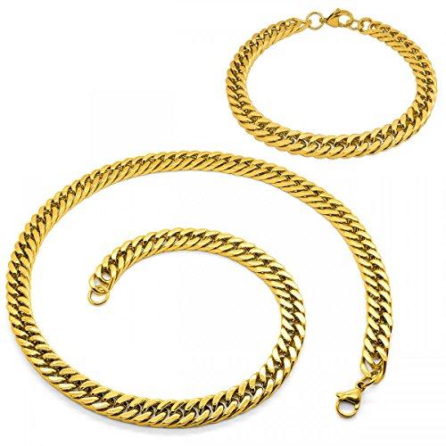 SoulCats® Königskette Armband Set o. einzeln aus Edelstahl Breite: 8 mm; Farbe: Gold; Auswahl: Kette 50 cm + Armband